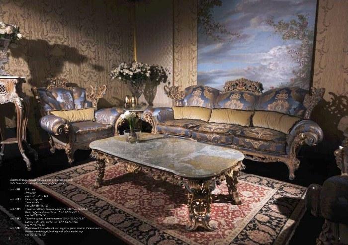 Интерьер гостиной в стиле барокко с картиной без рамки
